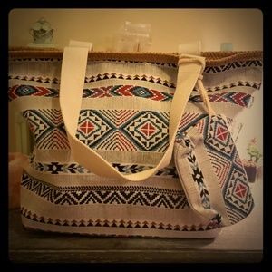 Handbags - Aztec print zipped purse/beach bag with wristlet